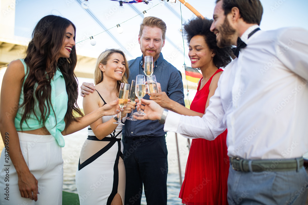 Fototapety, obrazy: Group of happy people or friends having fun at party