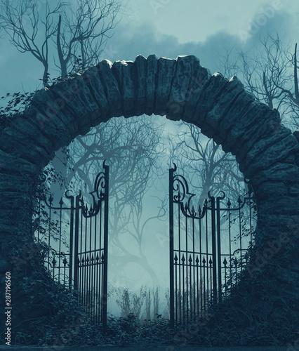 Fotografía The gates is open,Halloween scene,3d illustration