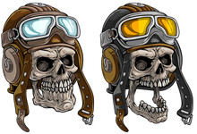 Cartoon Detailed Realistic Colorful Scary Human Skulls In Retro Leather Aviator Pilot Protective Helmet With Eyeglasses. Isolated On White Background. Vector Icon Set.