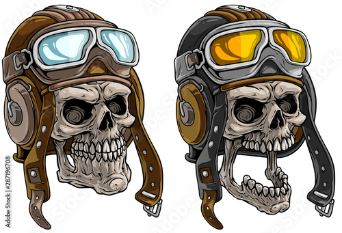 Photo Cartoon detailed realistic colorful scary human skulls in retro leather aviator pilot protective helmet with eyeglasses