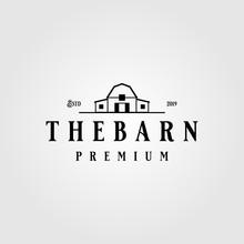 Vintage Minimalist Line Barn Building Logo Design Illustration