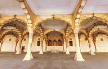Agra Fort Medieval Architecture Of The Diwan I Aam Known As The Hall Of Public Audience Used By The Mughal Emperor To Meet The Common People