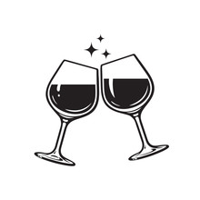 Two Glasses Of Wine. Cheers With Wineglasses. Clink Glasses Icon. Vector Illustration On White Background.