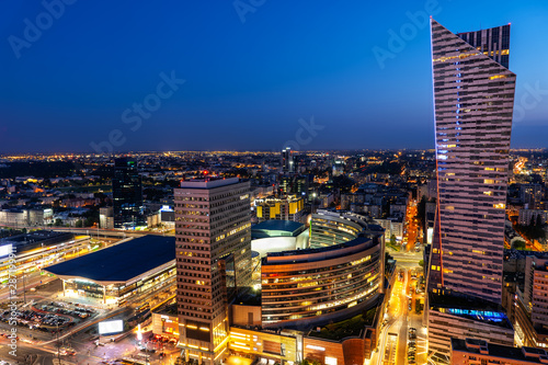 Fototapety, obrazy: Warsaw City Center By Night In Poland