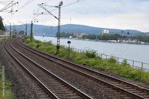 Obraz Rheintalbahnstrecke in Koblenz - fototapety do salonu