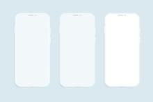 Three Smartphones Vector Mocku...