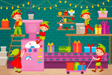 Elves Help Santa Claus Pack Christmas Presents
