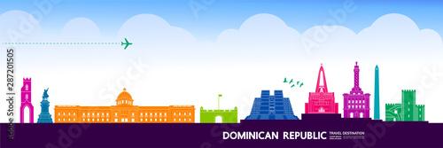 Cuadros en Lienzo Dominican Republic  travel destination grand vector illustration.