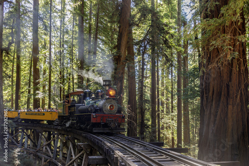 Fényképezés Roaring Camp' Dixiana Shay Steam Train over Trestle Crossing Redwoods in Santa Cruz Mountains