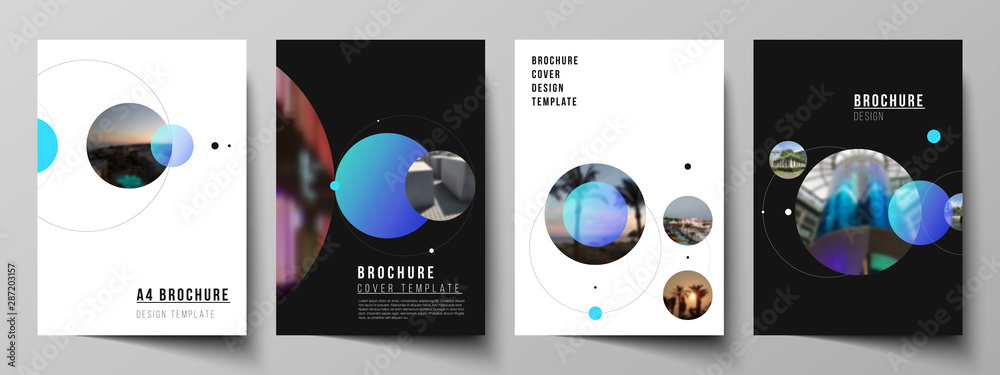 Fototapety, obrazy: Vector layout of A4 format modern cover mockups design templates for brochure, flyer, booklet. Simple design futuristic concept. Creative background with circles that form planets and stars.