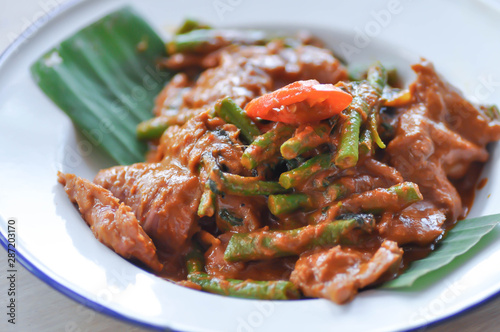 stir-fried beef with curry and vegetable Canvas Print