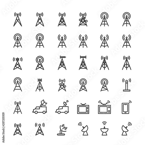 Photo Antenna icons set vector illustration