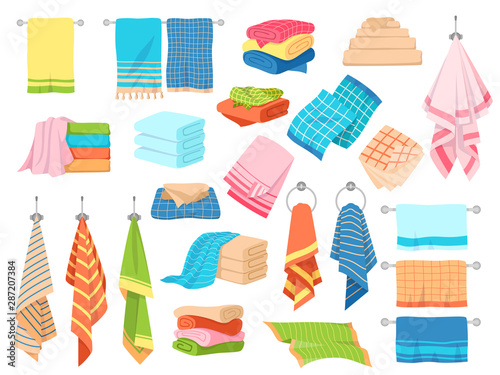 Obraz Bath towel. Hand kitchen towels, textile cloth for spa, beach, shower fabric rolls lying in stack. Cartoon vector set - fototapety do salonu