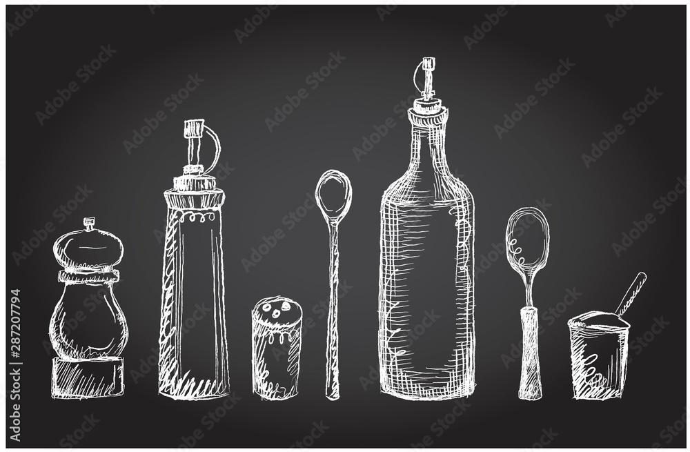 Fototapeta Set of kitchen utensils on a chalkboard, graphic symbols, rough line, hand drawn