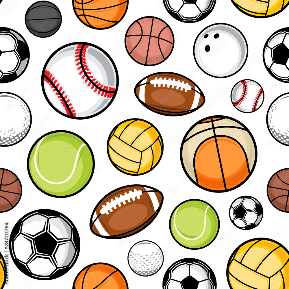 Vector colorful sport balls seamless pattern or background