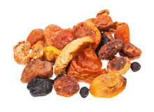 Pile Of Various Dried Fruits Isolated On White