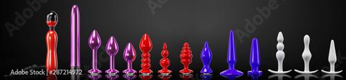 Foto Large set of vibrators and sex toys for adults, 3d render, 3d illustration