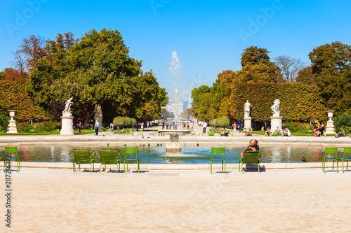 Stampa su Tela Jardin des Tuileries garden, Paris
