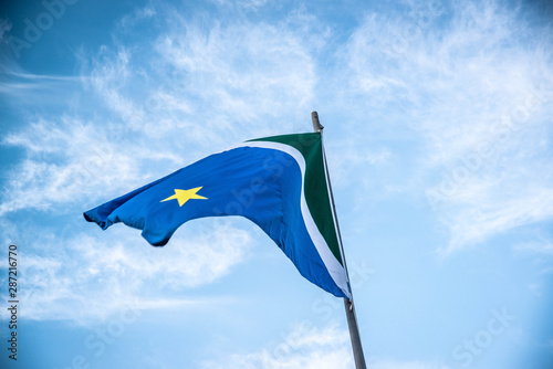 Valokuva  A beautiful view of brazil state flag (bandeira do mato grosso do sul)