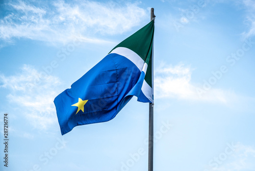 Fotografie, Tablou  A beautiful view of brazil state flag (bandeira do mato grosso do sul)
