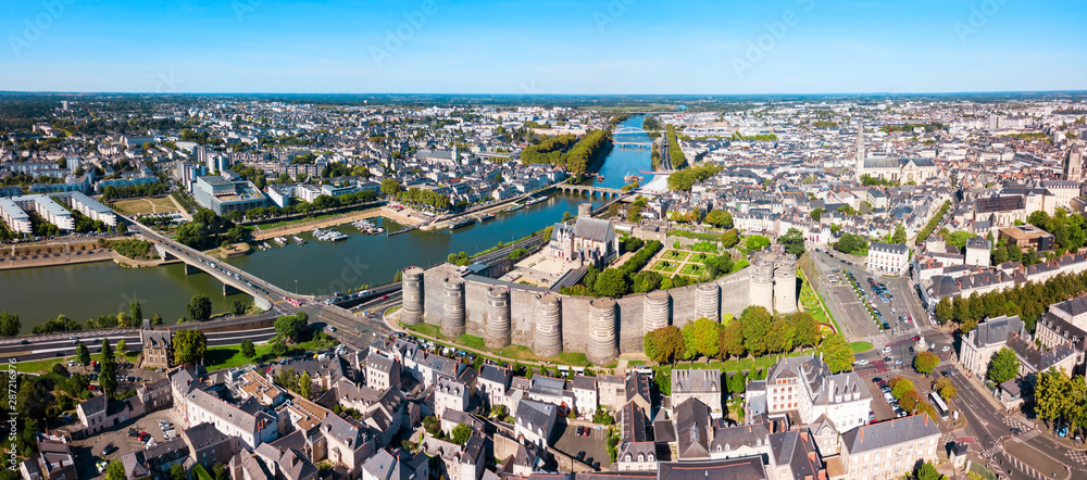 Fototapety, obrazy: Angers aerial panoramic view, France