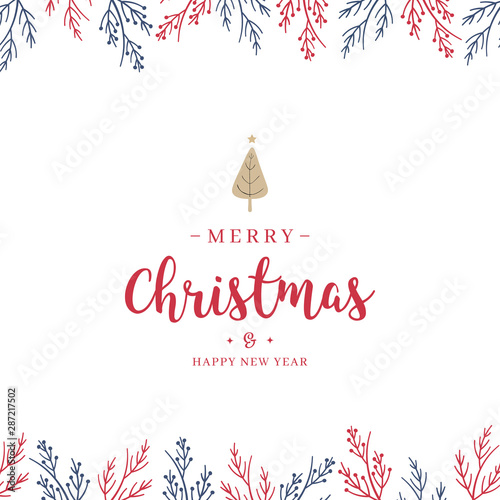 mata magnetyczna Christmas branch and greetings on white background card.