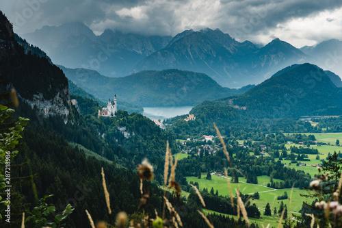 Foto auf AluDibond Blau türkis Panorama view to castle Neuschwanstein Hohenschwangau in Füssen Germany
