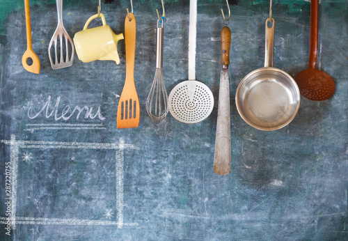 Fotografía  Kitchen utensils for commercial kitchen and menu template, restaurant,cooking, culinary concept