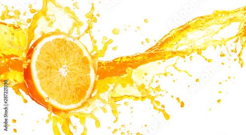 Foto auf Leinwand Saft Orange juice splashing with its fruits isolated on white background