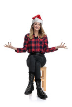 Casual Woman Sitting With Open Arms