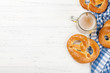 Leinwanddruck Bild - Oktoberfest backdrop. Pretzels and beer mug
