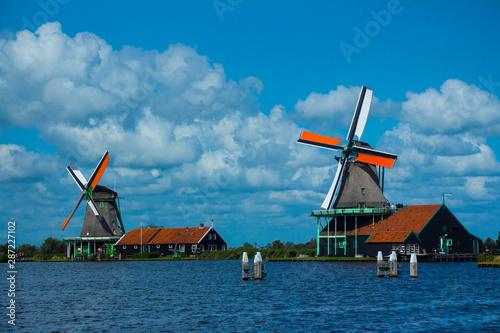 Windmill in holland, famous landmark