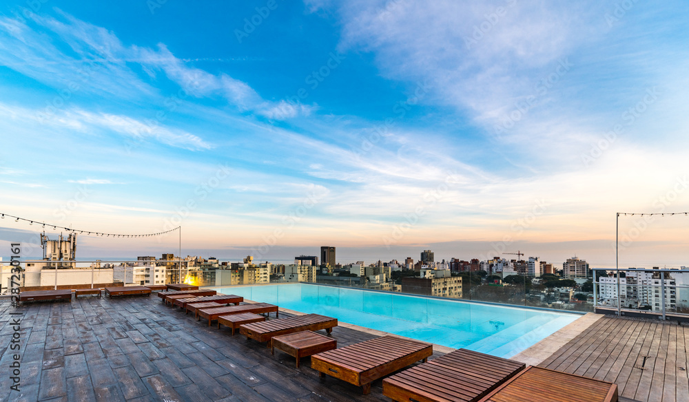 Fototapety, obrazy: Pool on the roof of a building (Montevideo; Uruguay)