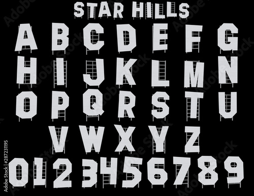 Fotografie, Tablou Star Hills Alphabet - 3D Illustration