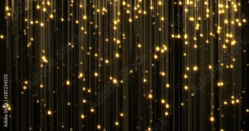 Fotografía  Golden rain, gold glitter particles with magic light sparks falling
