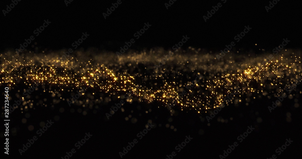 Fototapeta Gold glitter particles, shining gold sparks wave background. Gold glow and shimmering sparkles shine, abstract magic bright sparks in wave motion