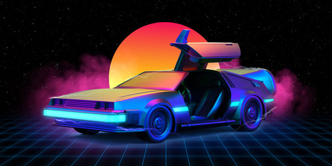 Future car retro 80th Illustration retrowave with grid on the floor and sun in the background. - 3d Render
