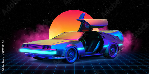 Fotografie, Tablou  Future car  retro 80th Illustration retrowave with grid on the floor and sun in the background