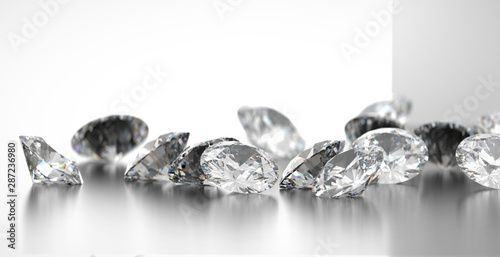Fotografía  Diamonds group placed on glossy  background, 3d rendering, soft focus