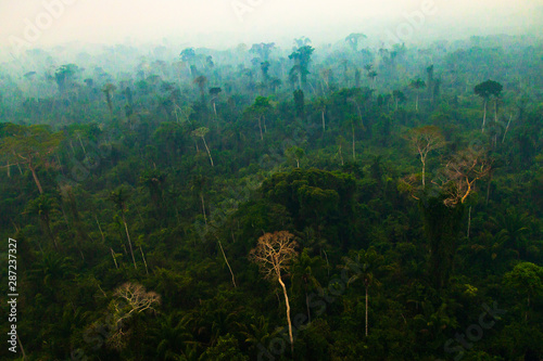 The Amazon rainforest covered by smoke from burning Canvas Print