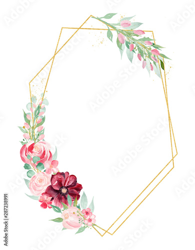 Poster Fleur Roses and magnolia branch watercolor hand drawn raster frame template