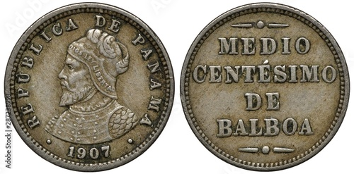 Photo  Panama Panamanian coin 1/2 half centesimo 1907, armored bust of Balboa left, den