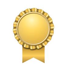 Award Ribbon Gold Icon. Golden...
