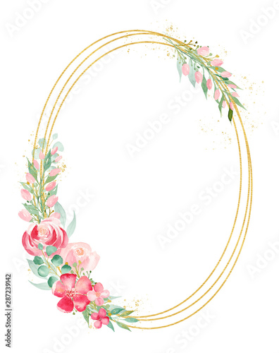 Floral branch watercolor hand drawn raster frame template Wall mural