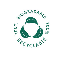 Biodegradable Recyclable Vector Icon. 100 Percent Bio Recyclable And Degradable Package Packet Logo. Biodegradable