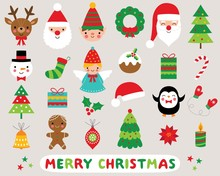 Christmas Cartoon Vector Icons Set