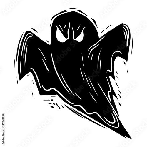 Creepy ghost hand drawn black silhouette illustration Wallpaper Mural