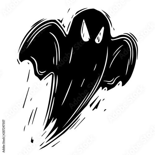 Creepy ghost hand drawn black silhouette illustration Canvas Print