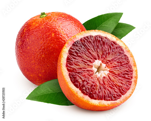 Fotografía  red blood orange slice, isolated on white background, clipping path, full depth