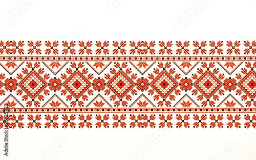 Valokuva Beautiful traditional Moldavian ornament pattern on a white background